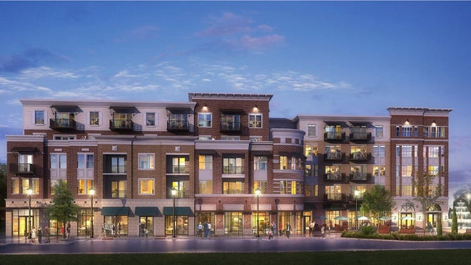 An artist rendering depicts the exterior of a section of a multifamily apartment community Southeastern Development plans to build on the former Marshall Square property in Evans Towne Center.