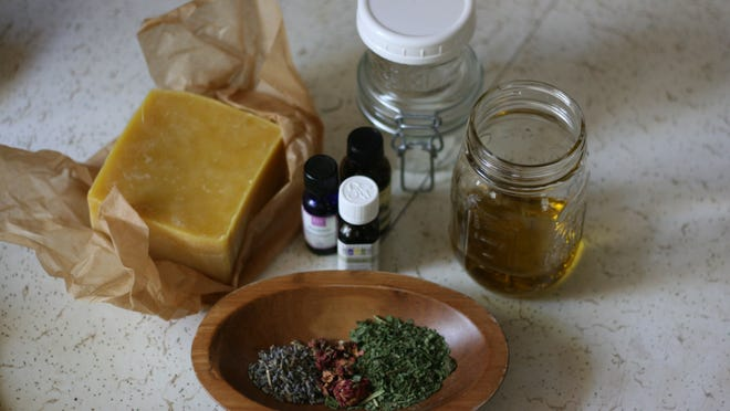Gather all ingredients and jars. Place a spoon or two in the freezer to test the salve's consistency once it is all mixed.