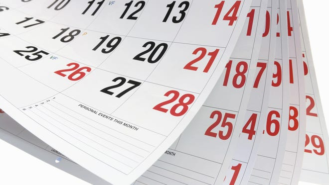 A community events calendar for one month