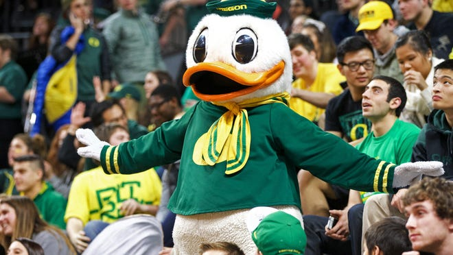 Jan 22, 2015; Eugene, OR, USA; Oregon Ducks mascot performs for fans against the USC Trojans at Matthew Knight Arena. Mandatory Credit: Scott Olmos-USA TODAY Sports