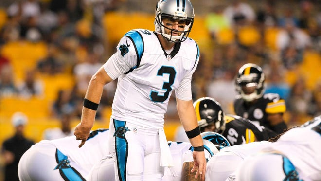 Sep 3, 2015; Pittsburgh, PA, USA; Carolina Panthers quarterback Derek Anderson (3) calls a play at the line against the Pittsburgh Steelers during the first quarter at Heinz Field. Mandatory Credit: Jason Bridge-USA TODAY Sports