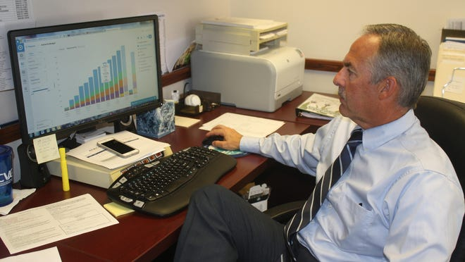 Edgewood City Administrator Brian Dehner pulls up a chart on OpenGov when the city started using the financial transparency website in August 2015.