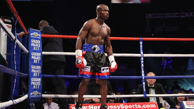 Cathedral City's Timothy Bradley prepares to take on Junior Witter for the WBC super lightweight title in Notthingham, England on May 10, 2008.