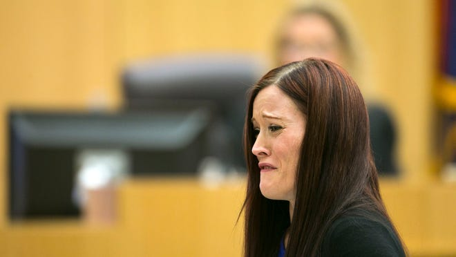 Travis Alexander's sister, Tanisha Sorenson, reads a statement to the jury during the sentencing phase retrial of Jodi Arias at Maricopa County Superior Court in Phoenix on Thursday, October 30, 2014. Arias was found guilty of first degree murder in the death of former boyfriend Travis Alexander, but the jury hung on the penalty phase, life in prison or the death sentence.