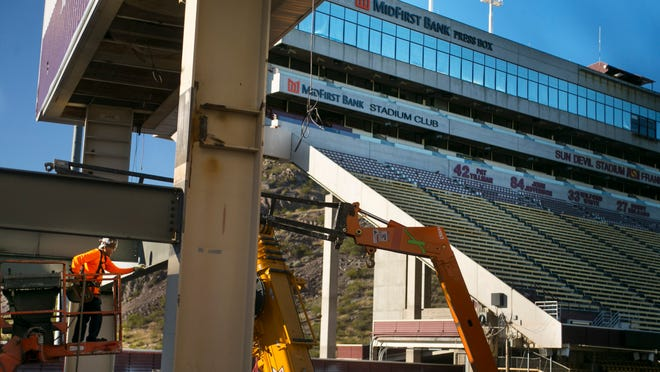 Construction is ongoing at Sun Devil Stadium in Tempe as seen on Thursday, Feb.5, 2015.