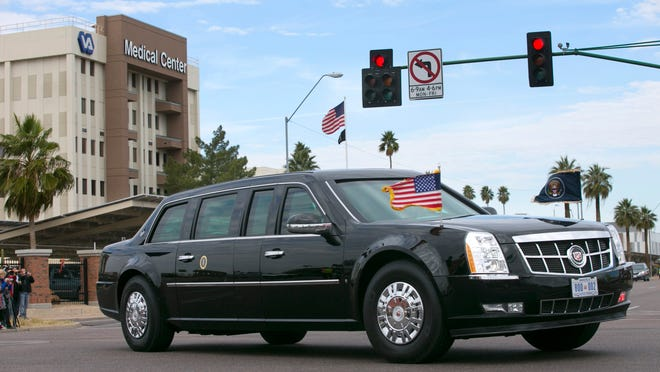 The limo containing President Barack Obama bypasses the Phoenix VA Medical Center during a January visit.
