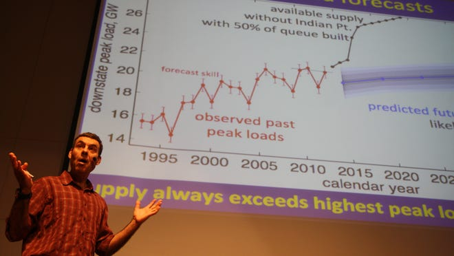 Bard College research professor of environmental science and physics Gidon Eshel gives a talk at Bard College earlier this month, showcasing his findings. He says existing power lines will be adequate until at least 2040.