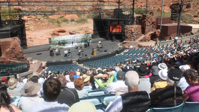 A crowd gathered April 20, 2014 for an Easter church service at the Tuacahn Amphitheater, hosted by Calvary Chapel, St. George.