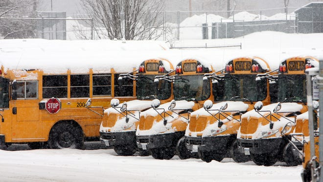 Brewster school buses sit idle after another snow day Jan. 25, 2011.