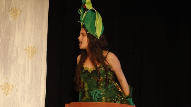 """Dobbs Ferry High School senior Beckett Morris plays """"Audrey 2"""" in """"Little Shop of Horrors,"""" with performances 7 p.m., April 24 and 25."""