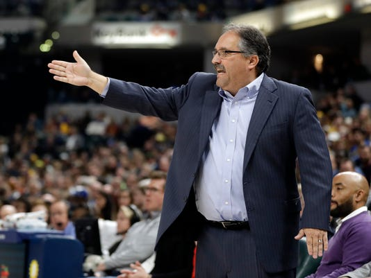 Detroit Pistons coach Stan Van Gundy shouts instructions during the first half of the team's NBA basketball game against the Indiana Pacers, Friday, Nov. 17, 2017, in Indianapolis. (AP Photo/Darron Cummings)