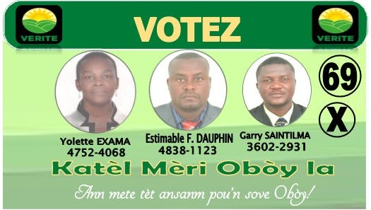 The campaign flier of Estimable Dauphin.