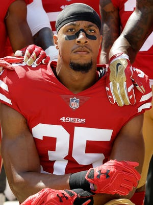 While with the 49ers, S Eric Reid commonly protested during the national anthem alongside QB Colin Kaepernick.