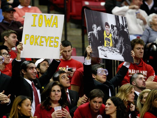 Fans hold up a sign during the first half of the Maryland Terrapins and Iowa Hawkeyes game at Xfinity Center on January 28, 2016 in College Park, Maryland.