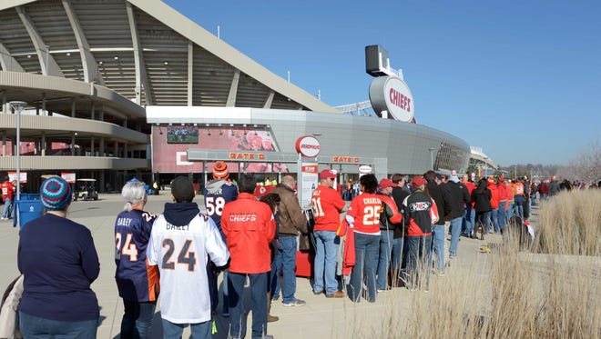 Chiefs and Broncos fans gather outside Kansas City's Arrowhead Stadium prior to Sunday's game.