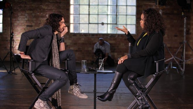 Russell Brand talks to Oprah Winfrey about addiction on her new 'Oprah Prime' show, airing March 9 at 9 p.m. on OWN