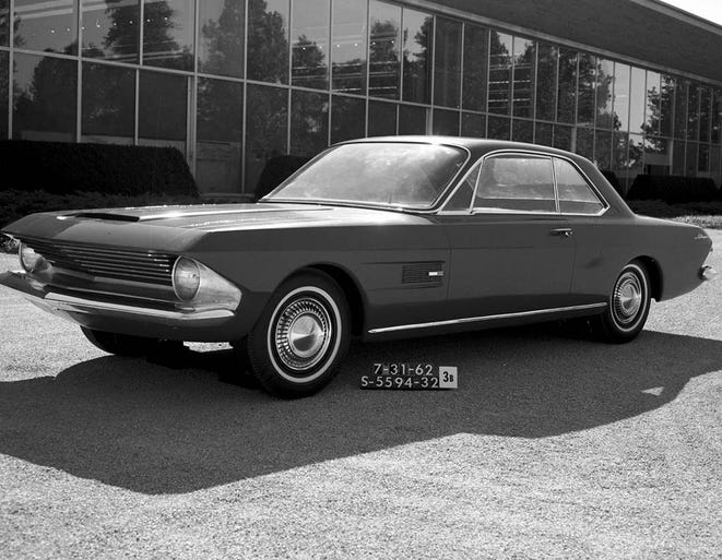 In 1962, the design team, led by Gene Bordinat, worked on several iterations of a design called Allegro. While the production 1965 Mustang was a very different car in almost every visual detail from Allegro, the design study established the basic proportions that would define most Mustangs for the next five decades.