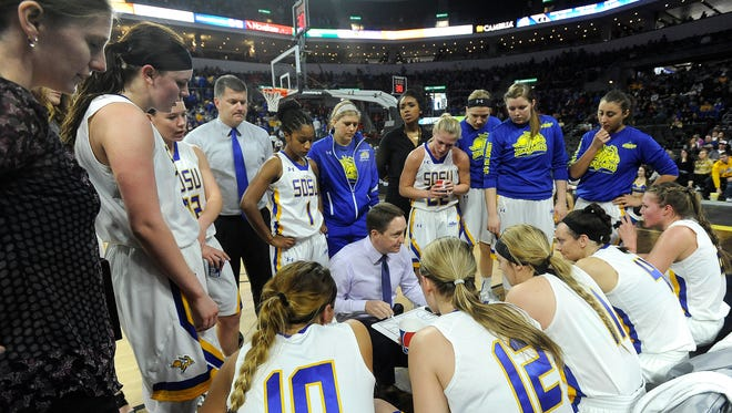 SDSU's head coach Aaron Johnston talks with his team during The Summit League tournament against IPFW' at Denny Sanford Premier Center in Sioux Falls, S.D., Saturday, March 5, 2016.