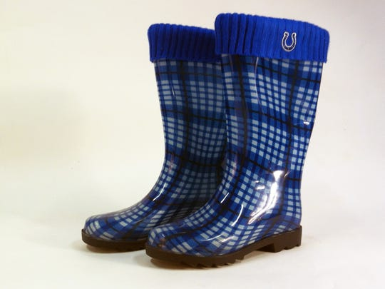 Keep your feet dry with these Colts rain boots, available from footballfanatics.com.
