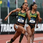Jun 9, 2016; Eugene, OR, USA; Deajah Stevens and Ariana Washington of Oregon place first and second in the women's 200m semifinal in 22.32 and 22.61 for the top two qualifying times during the 2016 NCAA Track and Field championships at Hayward Field. Mandatory Credit: Kirby Lee-USA TODAY Sports