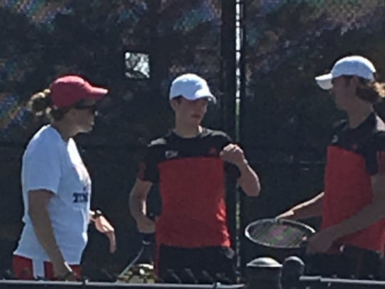Mitchell Norrie and Colson Schiek of Wichita Falls High School advanced to the District 5-5A championship match.