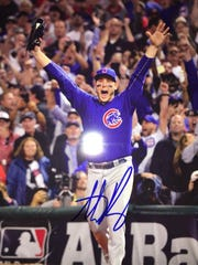Anthony Rizzo of the Chicago Cubs sends Gabe Johnson a signed picture.