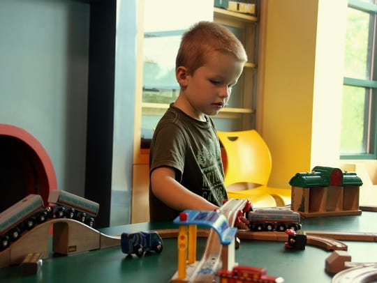 Jack Oliver, 4, plays at Discovery Center at Murfree