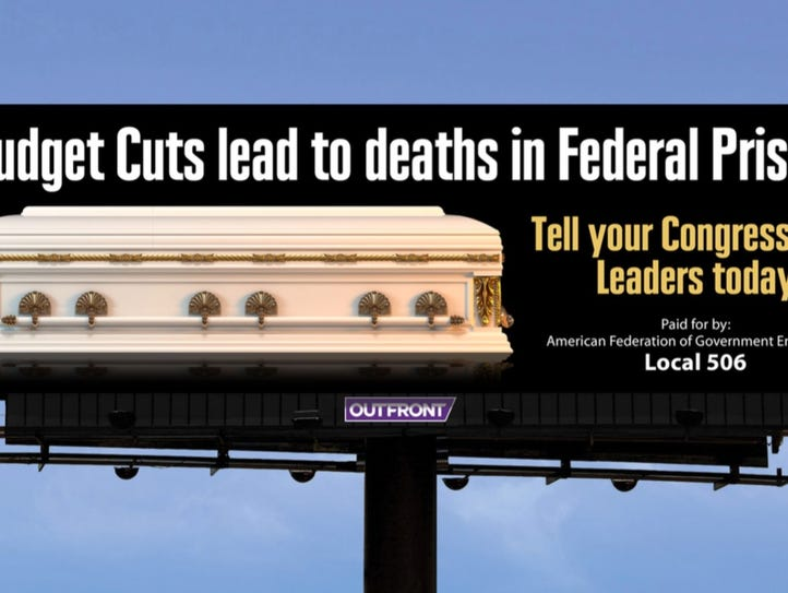 Rendering of a proposed billboard by prison union officials