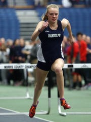 Randolph's Meghan O'Malley heads to the finish of the