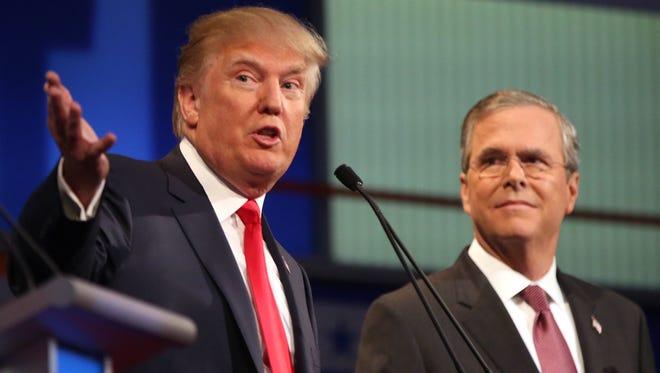 Republican presidential candidates Donald Trump and Jeb Bush (Andrew Harnik, AP)