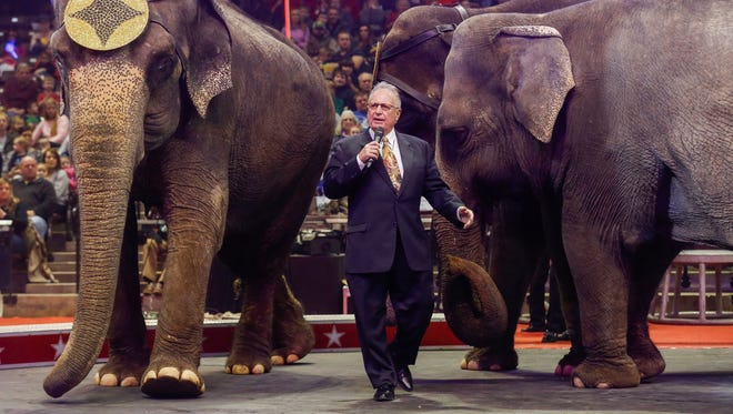 George Carden talks to the crowd about how the animals are treated before the start of the Carden Circus at JQH Arena on Friday, Feb. 2, 2018. The circus will also have shows on Saturday, Feb. 3 and Sunday, Feb. 4.