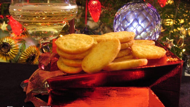 Homemade Zesty Cheese Wafers add a special touch to holiday noshing.