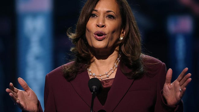 Democratic vice presidential nominee Sen. Kamala Harris, seen here addressing the Democratic National Convention last week, spoke to around 400 Rhode Island donors at a Zoom fundraiser Wednesday night.