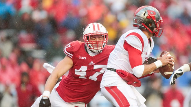 Wisconsin linebacker Vince Biegel (left)  is projected to be picked in the third or fourth round of the NFL draft.