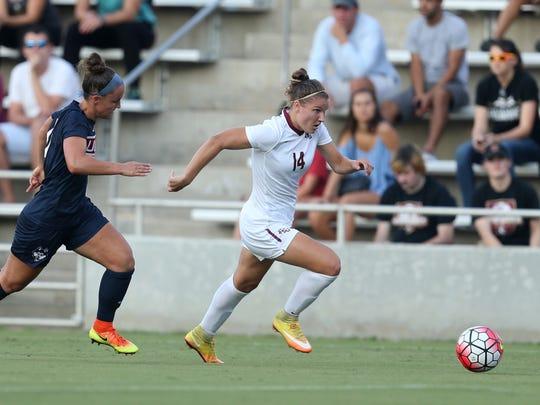 FSU's Natalia Kuikka dribbles the ball downfield against