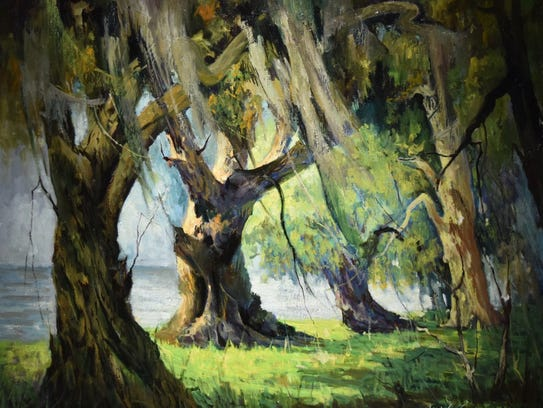 An oil painting of a Louisiana landscape painted by