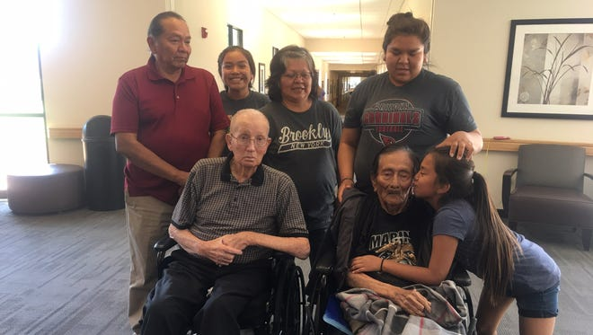 Samuel Tom Holiday, one of the last living Navajo Code Talkers, and his family in Ivins in 2017.