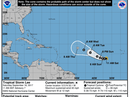 The forecast cone for Tropical Storm Lee as of 11 a.m.