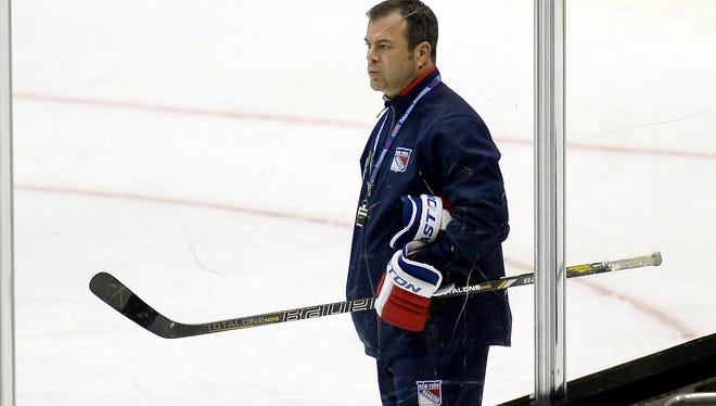 Rangers head coach Alain Vigneault during practice the day before Game 2 at Staples Center.