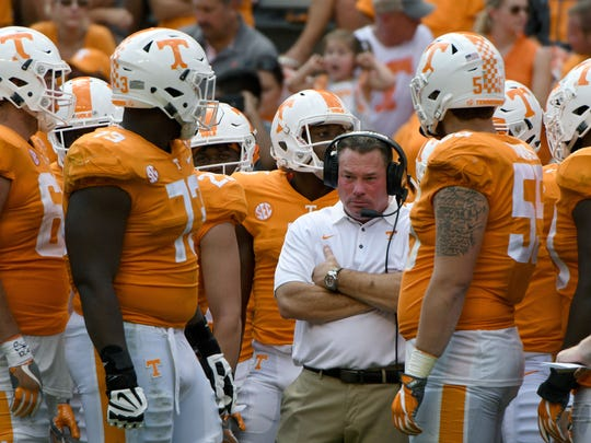 Tennessee Head Coach Butch Jones during the time-out in the second half of their 17-13 win over  UMass Minutemen Saturday, Sep. 23, 2017 at Neyland Stadium in Knoxville, Tenn.
