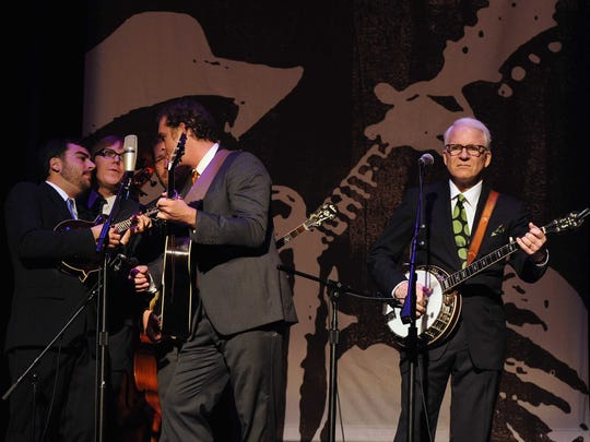 Steve Martin, right, has been performing with bluegrass