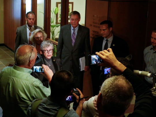 MSU President Lou Anna Simon speaks to the press on June 5, 2017 after a scheduled work session of the Board of Trustees.