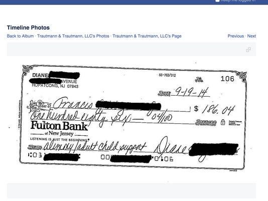Screenshot Alimony Check Trautmann Facebook