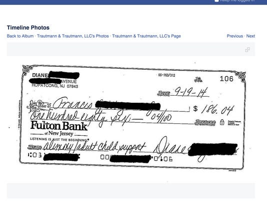 Screenshot Alimony Check Trautmann Facebook