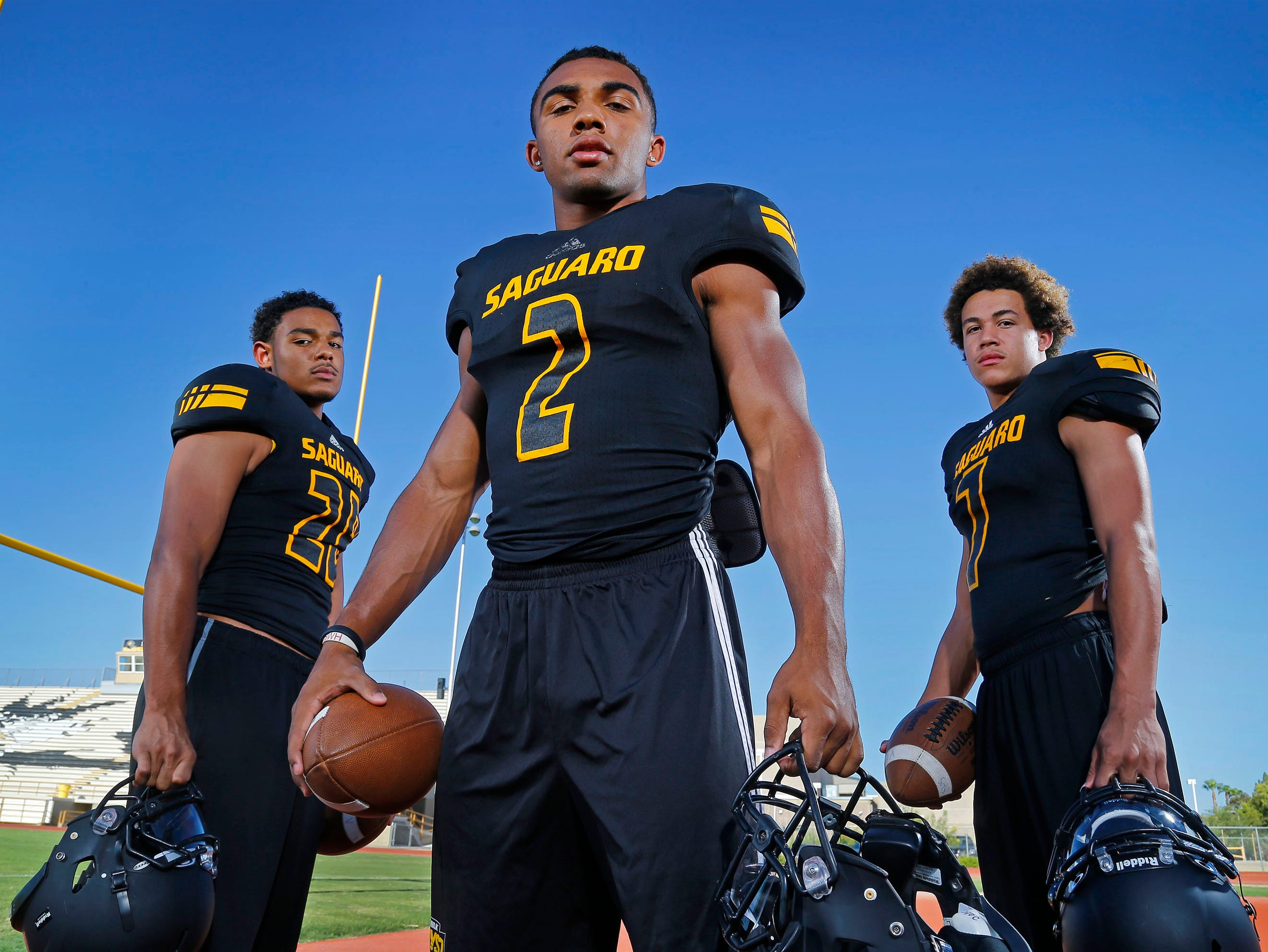 Saguaro will rely on the explosive trio of (l-r) Kam'ron Johnson, Christian Kirk and Byron Murphy.