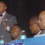 Kip Holden, democratic candidate for Louisiana Lieutenant Governor addresses the audience at Thursday's democratic forum held at the Delta Grand in Opelousas.