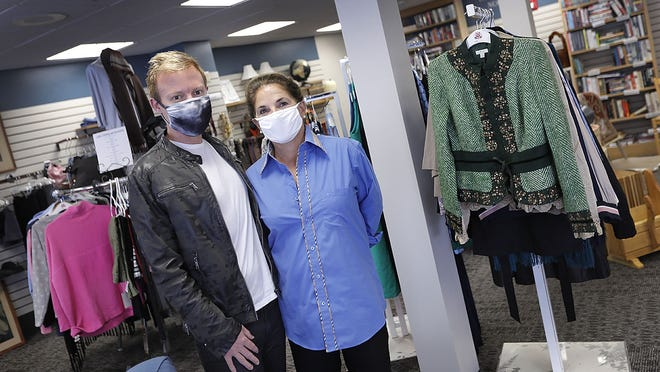 Adam Yeager and Mary Sease (cq) who will be the faces of the new thrift shop in Weymouth.  Wellspring of Hull has is opening a Weymouth thrift shop to help support their social programs. The new location is on Washington Street.  Wednesday September 30, 2020  Greg Derr/ The Patriot Ledger
