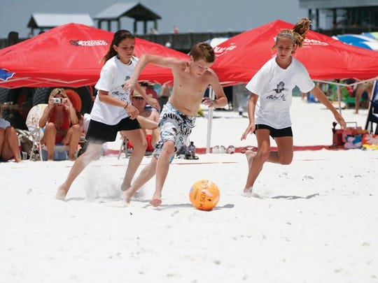 Major Beach Soccer action during 2016 Summer Qualifying Tournament Series in the youth coed division.