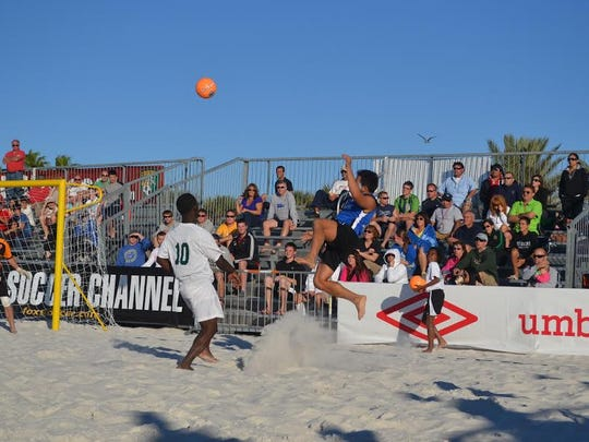 Major Beach Soccer action during 2016 Summer Qualifying Tournament Series in the adult open division.