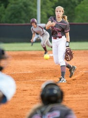 Tate's Hannah Brown pitches during the Niceville vs. Tate softball game on April 14, 2017. The Aggies travel to face the Niceville Eagles on Tuesday for the third meeting between the teams this year and a shot at earning a spot in the Region 1-7A finals.